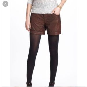 Anthropologie waxed cotton shorts leather look
